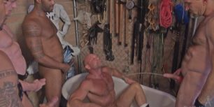 Nude muscled gays pee in bathroom and shower