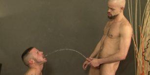 Slave sucks dick and drinks piss